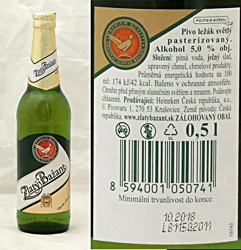 a908eeaf542da Zlatý bažant 12° (Pivovar Heineken Hurbanovo) - světlý ležák ...